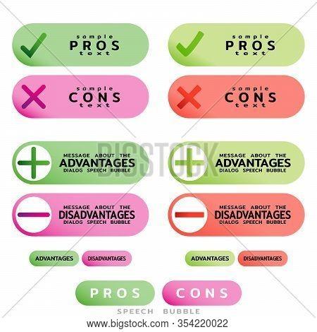 Pros Cons Message Windows. Correct Wrong, True False. Design Template For Informative Articles, Weig