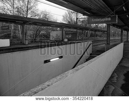 Chomutov, Czech Republic - February 24, 2020: Empty Train Station Named Chomutov Mesto At Rainy Even