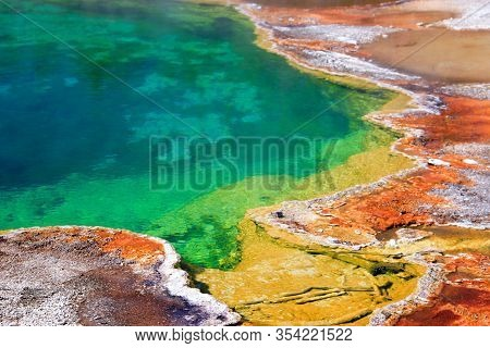 Rainbow Colors In Grand Prismatic Spring Close-up, Yellowstone National Park, Wyoming, Usa