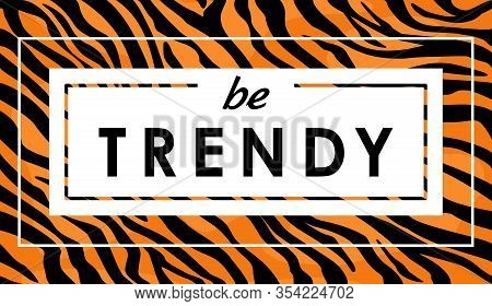 Vector Illustration Of Tiger Print For T-shirt, Animal Skin, Tiger Stripes, Abstract Pattern For Fab