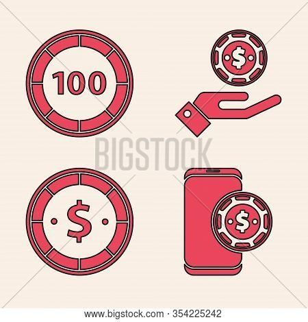 Set Online Poker Table Game, Casino Chips, Hand Holding Casino Chips And Casino Chip With Dollar Ico