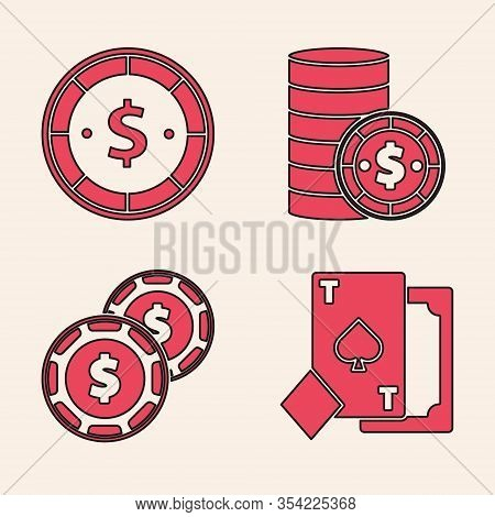 Set Playing Card With Spades, Casino Chip With Dollar, Casino Chip With Dollar And Casino Chip With