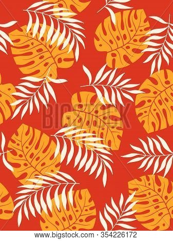 Tropical Leaves Seamless Pattern On Orange Background. Foliage Ornament With Saturated Colors. Vecto