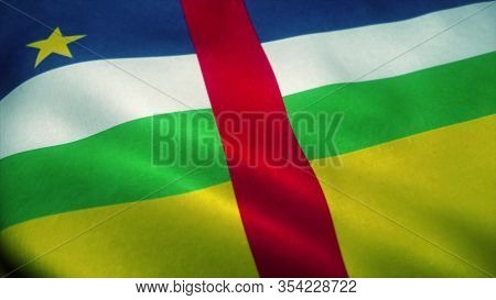 Central African Republic Flag Waving In The Wind. National Flag Of Central African Republic. Sign Of