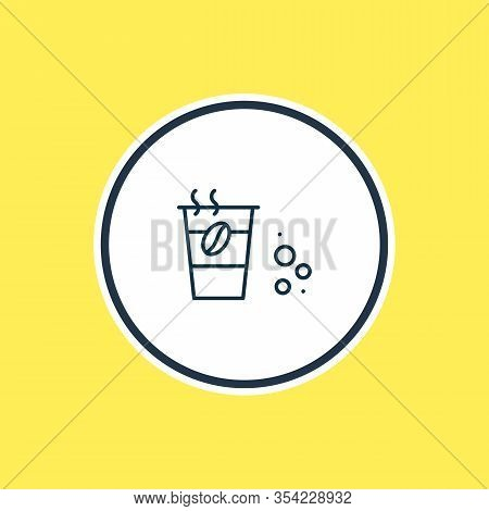 Vector Illustration Of Take Away Coffee Icon Line. Beautiful Drink Element Also Can Be Used As Decaf