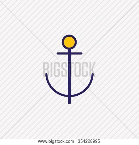 Vector Illustration Of Anchor Icon Colored Line. Beautiful Carrying Element Also Can Be Used As Nava