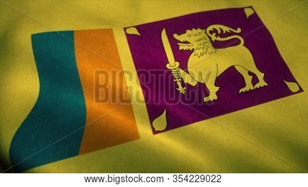 Sri Lanka Flag Waving In The Wind. National Flag Of Sri Lanka. Sign Of Sri Lanka. 3d Illustration.