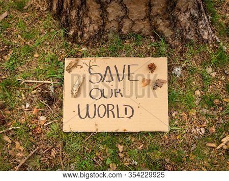 Cardboard Banner With Environmental Message On The Ground Next To A Tree In The Forest. Save Our Wor