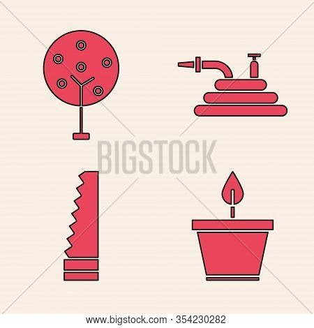 Set Plant In Pot, Tree, Garden Hose Or Fire Hose And Garden Saw Icon. Vector