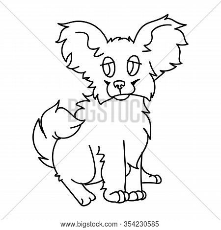 Cute Cartoon Papillon Puppy Dog Monochrome Lineart Vector Clipart. Pedigree Kennel Breed For Dog Lov