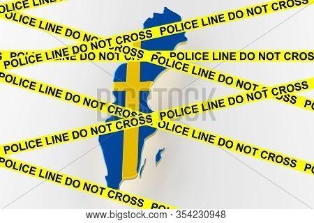 Sweden Crime Concept, Police Investigation. 3d Map Of Sweden. Map Of Sweden Land Border With Flag. 3
