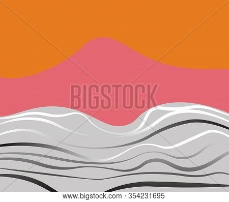 Abstract Bright Landscape With Mountains, Sea And Waves. Vector Illustration.