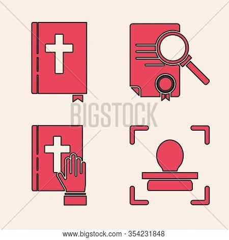 Set Face Recognition, Holy Bible Book, Document With Search And Oath On The Holy Bible Icon. Vector