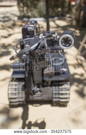 Seville; Spain - May 31st, 2019: Talon Tracked Military Robot, Pliers Detail. Equipment Exhibition O