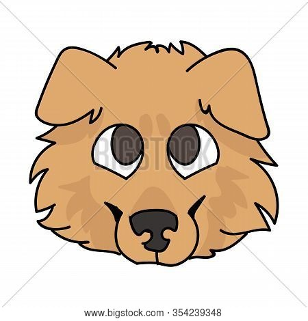 Cute Cartoon Rough Collie Puppy Dog Face Vector Clipart. Pedigree Kennel Sheepdog For Dog Lovers. Pu
