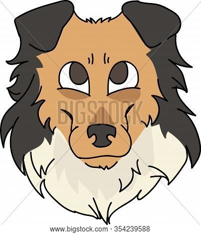 Cute Cartoon Rough Collie Face Dog Breed Vector Clipart. Pedigree Kennel Sheepdog For Dog Lovers. Pu