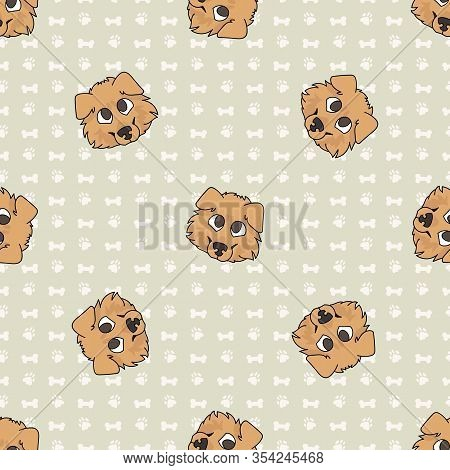 Hand Drawn Cute Rough Collie Puppy Face Seamless Vector Pattern. Purebred Pedigree Puppy Domestic Do