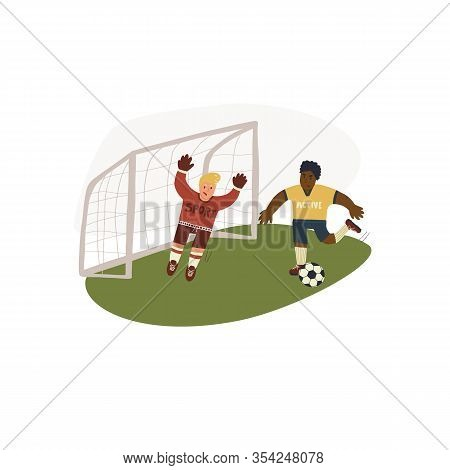 Fun Hand Drawn Illustration Of Goalkeeper Catching Or Blocking The Ball In Goals And Forward Running
