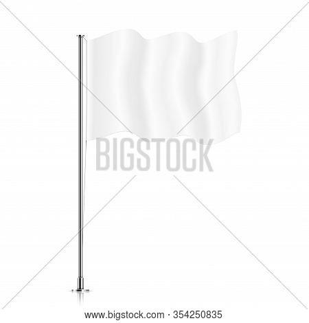 White Flag On A Pole. Vector Flag Mockup. Blank Horizontal Waving Flag, Isolated On A White Backgrou
