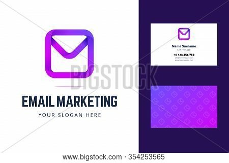 Logo And Business Card Template For Email Marketing. Envelope, Email, Mail Sign In Modern Gradient S