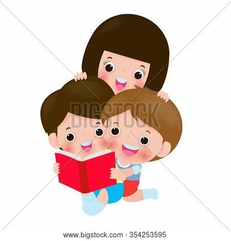 Cute Kids Reading Book, World Book Day, Education Concept, Happy Children While Reading Books, Back