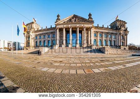 Reichstag Building, Seat Of The German Parliament (deutscher Bundestag) In Berlin, Germany.
