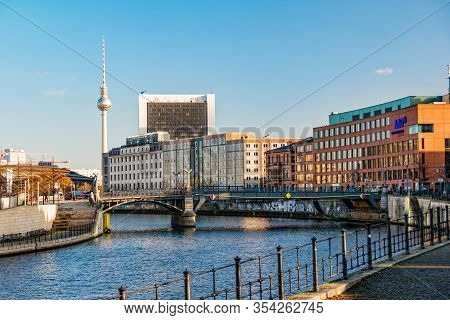 Berlin, Germany - December, 2019: View Of The City Berlin Near The Reichstag Building.