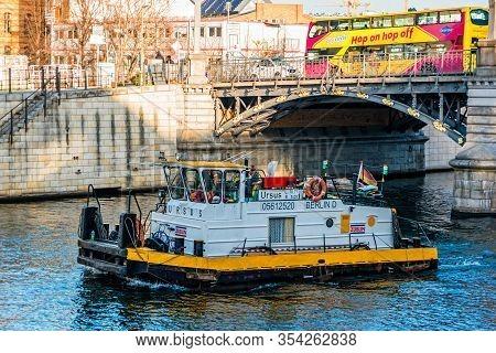 Berlin, Germany - December, 2019: Working Boat On Spree River In Berlin.