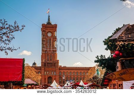The Red Town Hall In Berlin During Christmas