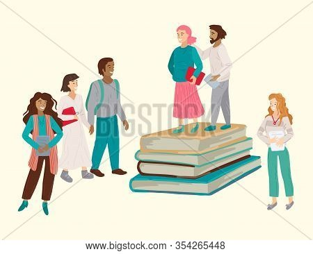 Literature Fans. Multinational Group Of People With Books. Vector Illustration
