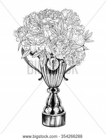Trophy Cup With Lush Lush Floral Bouquet In It