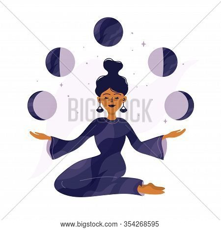 Cute Girl Holding Moon Phases In Hands. Modern Witch, Spirituality Concept. Magic Woman, Witchcraft