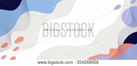 Horizontal Banner With Geometric Shapes, Flow Liquid Elements. Trendy Dynamic Background With Fluid