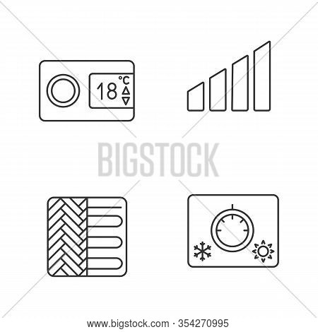 Air Conditioning Linear Icons Set. Digital Thermostat, Power Level, Floor Heating, Climate Control.