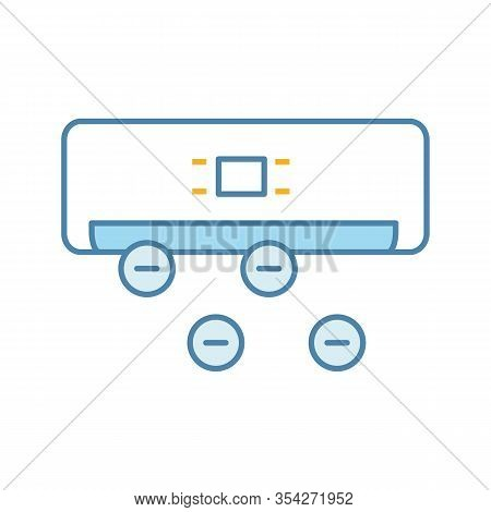 Air Ionizer Color Icon. Ionization. Air Conditioner With Ions. Isolated Vector Illustration
