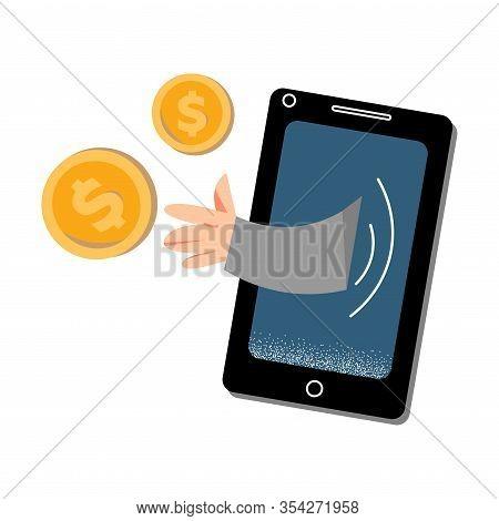 Man Criminal Robbing Money In Smartphone Electronic Technologies