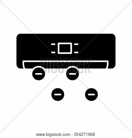 Air Ionizer Glyph Icon. Ionization. Air Conditioner With Ions. Silhouette Symbol. Negative Space. Ve