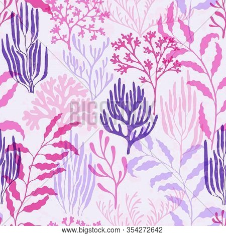 Coral Polyps Seamless Pattern. Kelp Laminaria Seaweed Algae Background. Mediterranean Staghorn And P