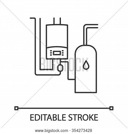 Boiler Room Linear Icon. Workshops, Stores, Pavilions, Salons Heating. Thin Line Illustration. Comme