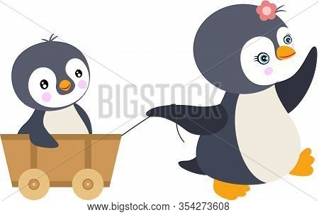 Scalable Vectorial Representing A Mum Penguin Pulling Little Son On Small Wooden Cart, Element For D