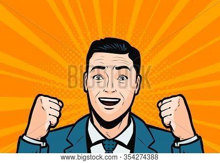 Success, Businessman Delighted. Retro Comic Pop Art Vector Illustration
