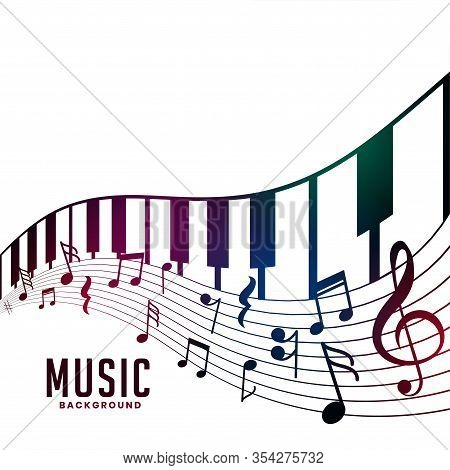 Piano And Musical Notes Chord Background Design Illustration