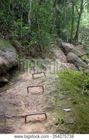 Steep Part With Chains And Iron Ladder On The Rock Of Parque Lage To Corcovado Trail, Rio De Janeiro