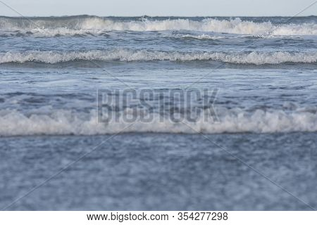 Seascape, Waves Approaching, Observed From The Beach In Mar Del Plata, Province Of Buenos Aires, Arg