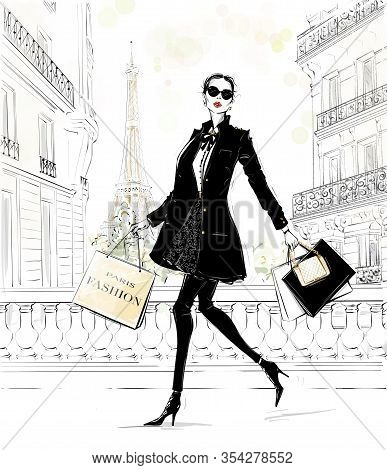 Hand Drawn Beautiful Young Woman With Bags. Fashion Look. Stylish Girl In Fashion Clothes With Paris