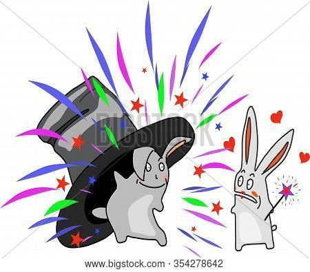 Sketch, Illusionist Rabbits Appear From Under A Hat With A Magic Wand. Suitable For Cards, Logo, Emb