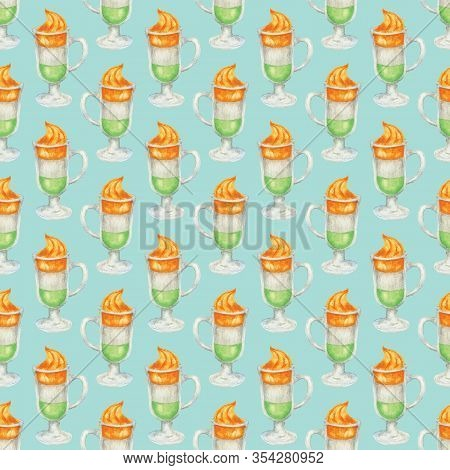 Seamless Pattern With Glass Of Irish Coffee On Blue Background. A Cups Of Coffee In The Colors Of Th
