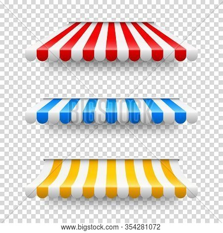 Shop Sunshade. Realistic Striped Cafe Awning. Outdoor Market Tent. Roof Canopy. Summer Street Store.
