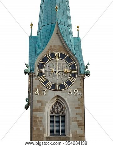 Fraumuenster Church Tower Isolated On White Background. The Church Clock Shows Exactly Three O Clock