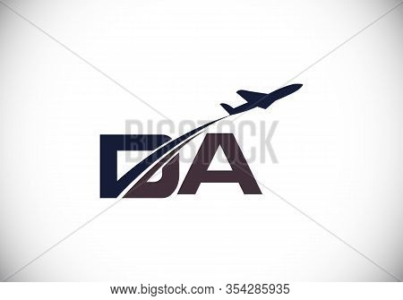 Initial Letter D And A  With Aviation Logo Design, Air, Airline, Airplane And Travel Logo Template.